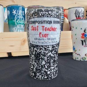 Teacher composition book tumbler